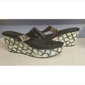 Coach Black & White Platform Thong Sandals